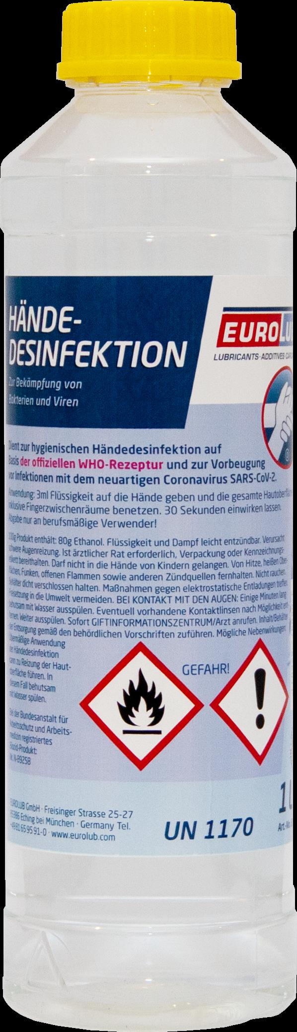 EUROLUB Händedesinfektion Desinfektionsmittel 1 Liter Flasche
