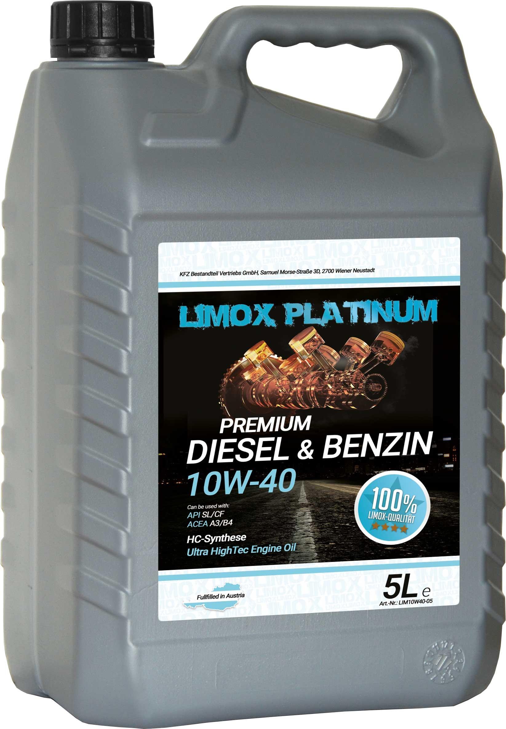 LIMOX Platinum Diesel & Benzin 10W-40 Motoröl 5Liter