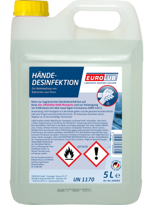 EUROLUB Händedesinfektion Desinfektionsmittel 5 Liter Kanister