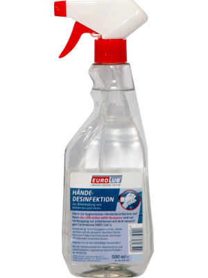EUROLUB Händedesinfektion Desinfektionsmittel 500 ml Sprühflasche
