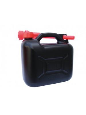 Benzinkanister 10 Liter - UN-geprüft 600 gramm schwarz/rot mit Ausgießer