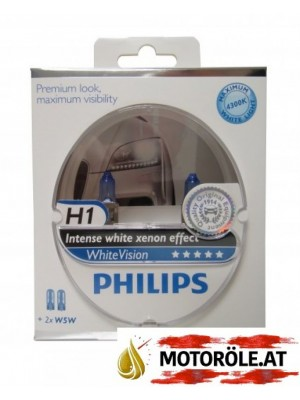 H1 Philips 12V 55W P14,5s WhiteVision 2st. Set + 2 xW5W