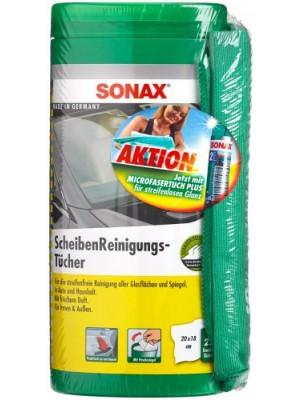 SONAX Scheiben Reinigungs Tücher Box + Gratis Microfasertuch Plus